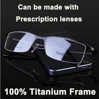 I-bright New Fashion Designer Men's Business 100% Titanium frames Leisure Half-frame Myopia Eyeglasses Prescription Eyewear