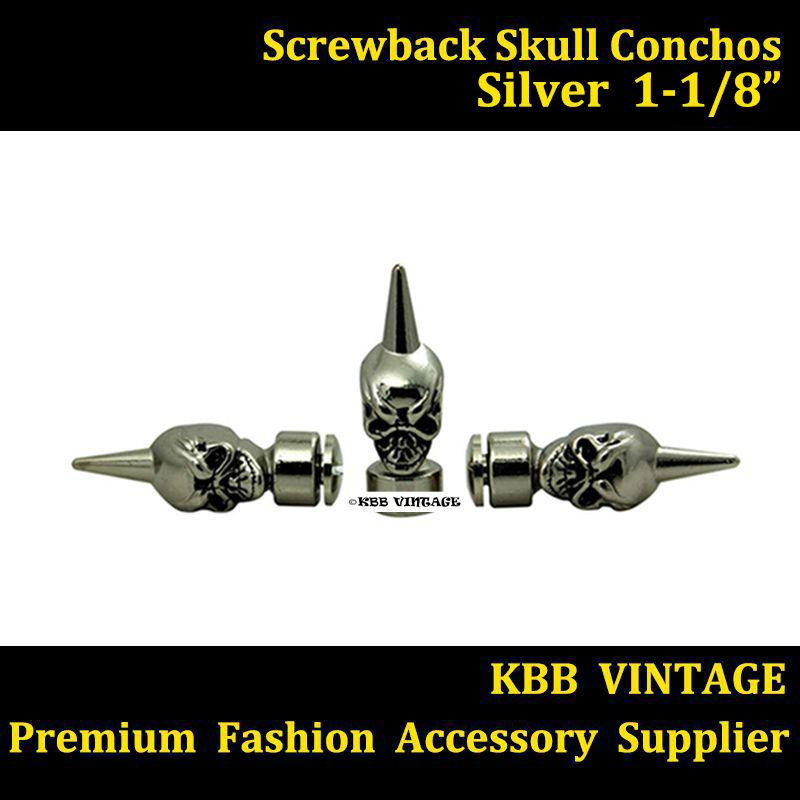 Wholeslae! 50pc 1-1/8'' Western Skull Concho Screwback Skull Spikes Silver(China (Mainland))