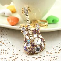Great Gift for girl women Rhinestone Colorful Guitar Key chain metal Keychain Alloy Keyring,Gold Plated ,Handbag Charms