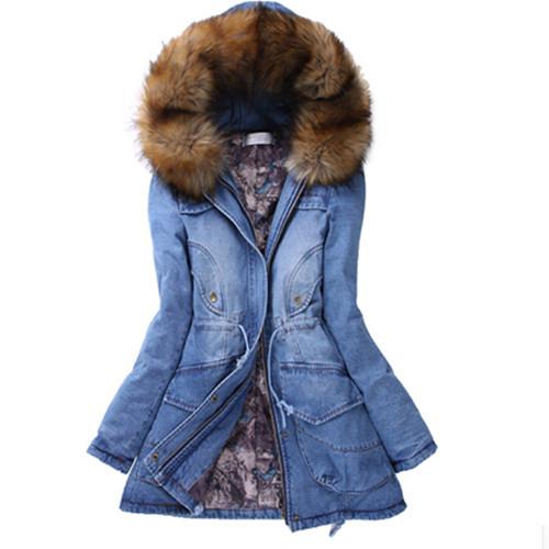 Free Ship New 2014 Winter Thick Jacket Women Fashion Korean Yards Down Coat Slim Cotton Long Denim Jacket Hot Sales A 01(China (Mainland))