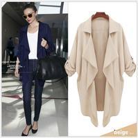 Miranda Kerr 2014 Summer New Women Ladies Elegant V-Neck 100% Cotton Chiffon Cardigan Trench Coat Navy/Khaki S-XL