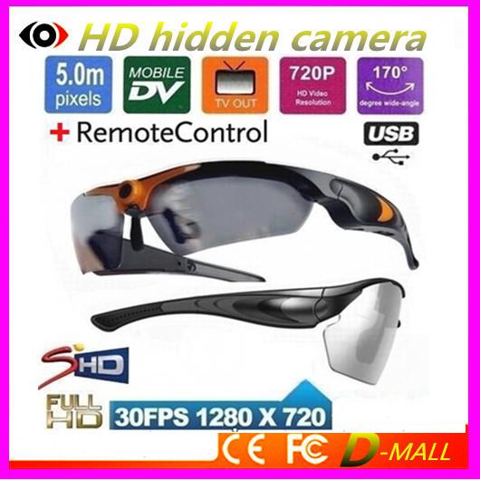 New HD 720P 090B Mini camera sunglasses with camera Remote Control 170 degree Wide Angle Eye Glasses Sport Video glass Camera(China (Mainland))