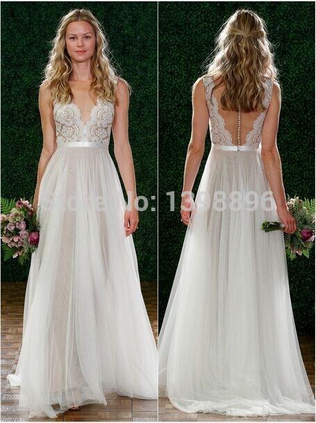 Hot Sale 2015 Spring Wedding Dresses Real Image Bridal Gown Lace Appliques A-Line sheer vestidos de noiva AA012()