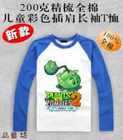 Spring and autumn Plants vs . zoombies 2  long-sleeve t-shirt Children's clothes Fashion family Plants vs zombies T-shirt