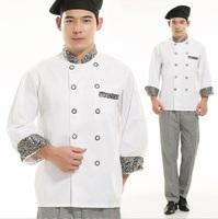 FREE SHIPPING fashion design Long Sleeve White Chef Jacket Hotel Working Coat
