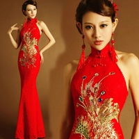 Red Chinese bride wedding toast shirts Phoenix tail hanging neck backless lace cheongsam dress bride wedding