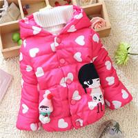 winter kid warm jackets kids girls children girls baby heart pattern cute outwear coats Down 2014 KT550R