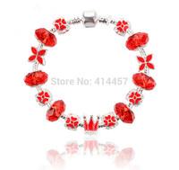 op Sale European Style 925 Silver glass Bead Charm Bracelet for women Fashion Jewelry BEST CHRISTMAS VALENTEEN CHOICE