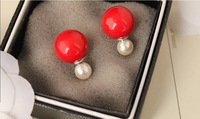 High quality Shell pearl  earrings Big small  stud earrings 925