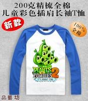 Plants vs . zoombies 2 pea pod 100% cotton o-neck long-sleeve t-shirt Children's clothes fashion Plants vs zombies T-Shirt