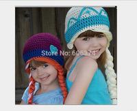 New Hot Crochet ELSA ANNA Cap Frozen Winter Warm Hat Kids Girls Handmade Knitted Hat Children Frozen Beanie Cap High Quality