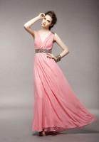 2014 New Summer Women's Elegant Graceful V-Neck Beaded Shiny Chiffon Long Length Evening Party Dresses With Belt,Free Shipping