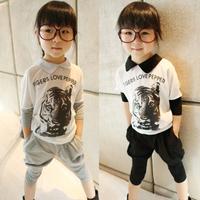Summer Girl Clothing Set Pure Cotton Tiger Head T Shirt + Harem Pants 2pcs Children Suit 2 Colour Kids Casual Sets WD479