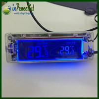 Auto 12V/24V Digital Car indoor and outdoor Thermometer / temperature ( blue & orange backlight) AK-55