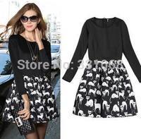 Hot new autumn and winter dress European leg of cute cat pattern stitching temperament bottoming dress free shipping