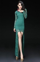 2014 New Summer Women's Sexy Slim Tight Lace Irregular dovetail Evening Party Dresses,Free Shipping