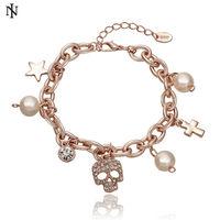 Wholesale free shipping 18k gold vacuum plated skull charm Bracelet for women bracelets High-quality H081
