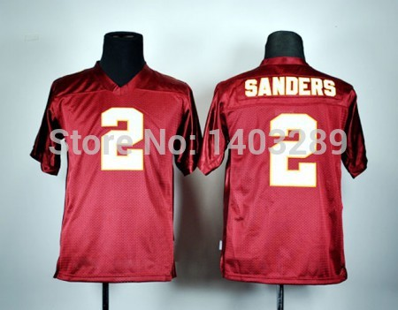 Hot sale kids college football jersey,stitched 2 Deion Sanders children uniform jersey red Florida(China (Mainland))