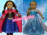 "HOT Frozen Queen Elsa&Princess Anna 18"" American Girl Doll Clothes Dress"