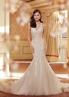 Cheap Wedding Dress Fashionable Appliques V-neck Backless vestido de noiva Mermaid Organza Bridal Dresses Wedding dresses