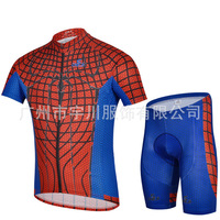 Spider-Man red and blue short-sleeved jersey suit male summer models breathable wicking bike outdoor equipment wholesale