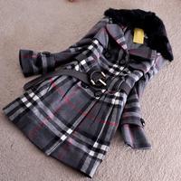 Free shipping, M-2XL,women's autumn winter woolen trench Rabbit fur collar overcoat long belt line,2 style ,large size
