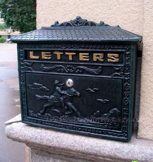 Cast Iron Mail Box Mailbox Antique Metal Wall Mount Postbox Post Letters Box(China (Mainland))