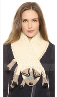 2014 brand Shiny cat eye design three-dimensional color stitching hit invisible hooks knitted scarf free shipping
