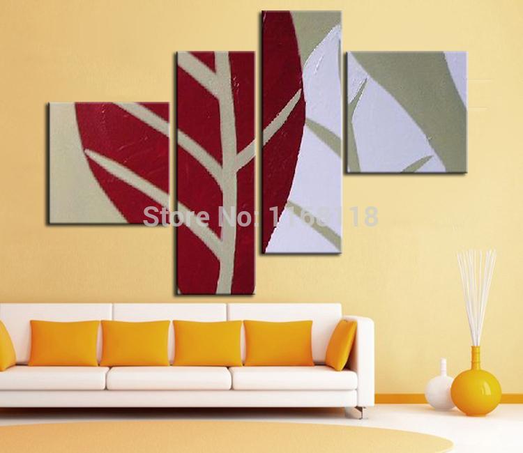 4 painel decoração da parede arte moderna conjunto abstrato galho de árvore pintados à mão pintura a óleo sobre tela para sala(China (Mainland))