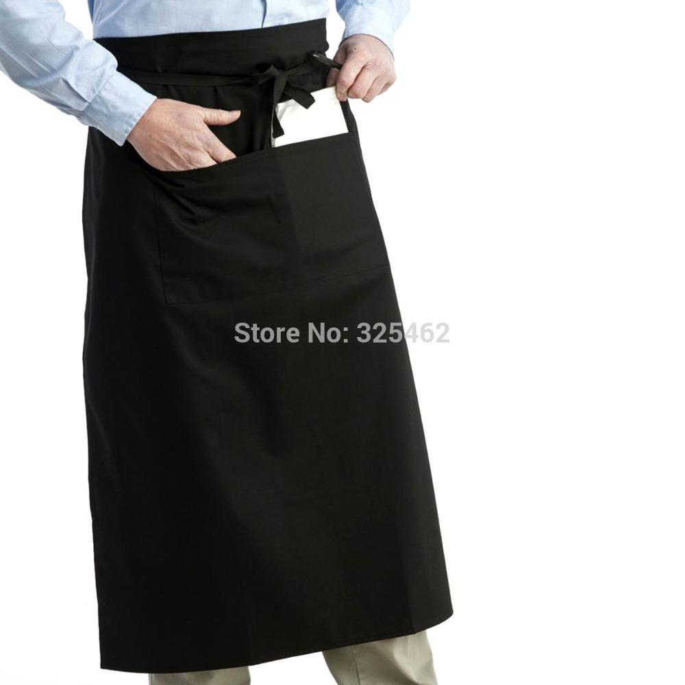 Unisex Women Men Kitchen Cooking Half Apron With Pocket Black(China (Mainland))