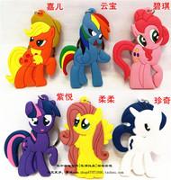 6pcs/set MLP 6 protagonists Twilight Sparkle Rainbow Dash Applejack Rarity Fluttershy keychain card installed pendant