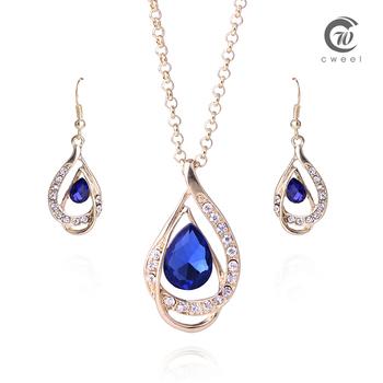 Африканский бусины ювелирных изделий ожерелья комплект 18 К золото заполненные ожерелье серьги сапфировое стекло женщин свадебные аксессуары