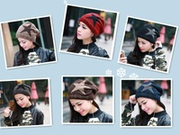 Free shipping 2014 new warm winter Miss Han Bannan double knit cap plus velvet pentagram