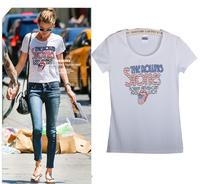 Free Shipping New Women's Casual Slim Short-sleeved White T-shirt Printed Cotton T-shirt  04