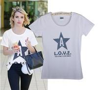 Free Shipping New Women's Casual Slim Short-sleeved White T-shirt Printed Cotton T-shirt  05