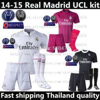 camiseta Real Madrid 14 15 Champions League soccer jersey kit black white pink 2015 Real Madrid RONALDO JAMES BALE shirt