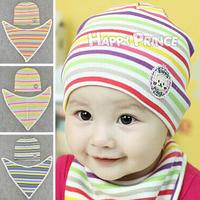 Striped Kitten Baby Hedging Cap Bibs Cotton Lovely Warm Hat Baby Scarf