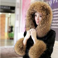 Dka281 2014 new winter women's clothing raccoon fur hooded rabbit fur coat short paragraph