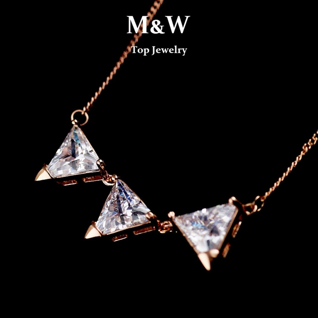 Top Quality!New Arrival Fashion Rose Gold Plated Cubic Zirconia Diamond Geometric Chain Necklaces For Women Gifts(China (Mainland))