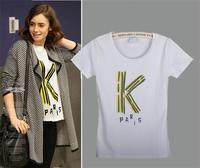 Free Shipping New Women's Casual Slim Short-sleeved White T-shirt Printed Cotton T-shirt  07