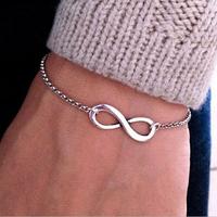 hot Selling women's fashion punk Infinite charmmetal chain bracelet female retro infinity symbol bracelet