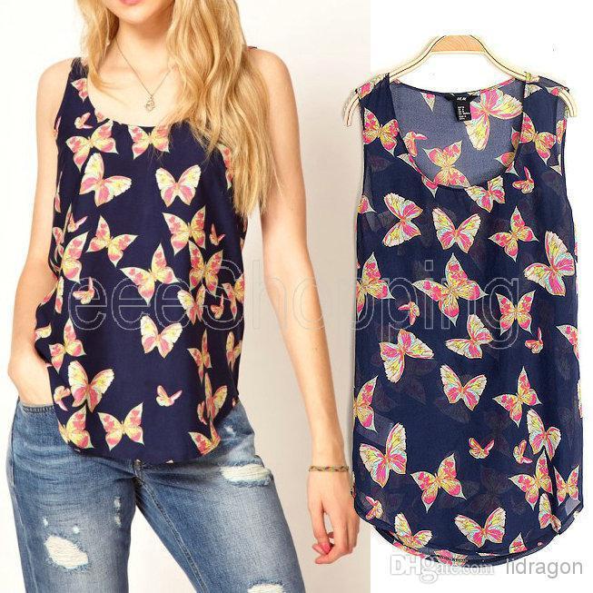 novo estilo europeu das mulheres senhoras mangas marinha colete de impressão borboleta chiffon blusa tops t- camisa trabalho versátil sml(China (Mainland))