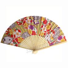 2014 New Japan Kimono Arts Folding Fan Wedding Festive Home Decoration Silk-like Hand Fan Free Shipping(China (Mainland))