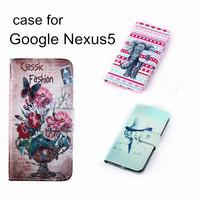 Vintage Leaf PU Flip Leather Wallet Stand With Card Holder Flower Elephant Butterfly Mobile Phone Bag For Google LG Nexus 5