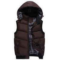 2014 Brand Men's Soft Winter Warm Outwear Waistcoat New Fashion Men's Hooded Vest Real Down Vest