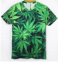 Clearance Cheap 2014 Summer Harajuku rock joker top 3d marijuana weed hemp green leaf print T-shirt couple shirt zipper men tee