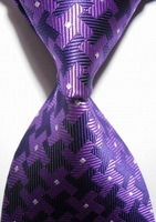 High Quality Wholesale&Retail New Checked Purple Black JACQUARD WOVEN Men's Party Wedding Tie Necktie Drop Shipping