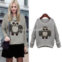 2014 Women's animal owl pattern sweater women's basic sweater o-neck batwing sleeve