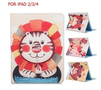 HOt Sale 9.7inch Tablet  PAD Cover For Apple Pad 4 3 2 Lovely Cartoon Folio Flip Leather Case Cover Kids Gift  holsteins  RU