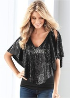 Fashion New 2014 Women's T-Shirts Loose Black Sequin Sparkle Glitter shirt Tank Top Short Sleeve Casual Blouse B3